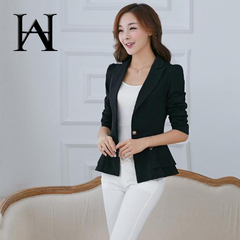 Ins Ruffle Women Spring Suit Blazers Female Blazer Plus Size Candy Color Leisure Style Full Casual black s