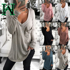 W&H New Solid Color Long Sleeve Cotton Pullover Loose T Shirts With Pocket V-neck Sexy Shirts Tops black s