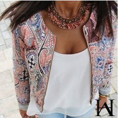 W&H Cotton Fashion Womens Floral Slim Casual Summer Blazer Suit Jacket Coat Outerwear Print Tops as picture s
