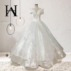 W&H Bride Word Shoulder Gradient Sequins Court Dream Princess Pettiskirt Flash Wedding Dress s white