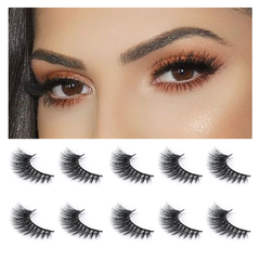 Neflyon Sexy Black 100% 3D Mink False Eyelashes Reusable Soft and Long 5 Pair Package Beauty Tools black one size