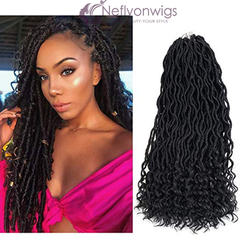 Neflyon  24Strands Goddess Locs Hair Extensions Curly Crochet Braids Braiding Hair Beauty 1B# 18inch #1B One Size