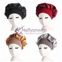 Neflyon 100% Satin Bonnet Night Sleep Silk Cap Sleeping Head Cover For Fashion Women Girl Sleeping Black