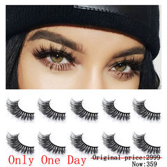Neflyon Thick Black 100% 3D Mink False Eyelashes Reusable Soft and Long 5 Pair Package Beauty Tools Black One size