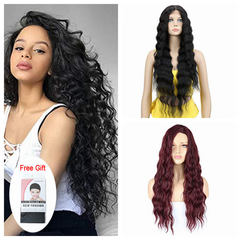 Neflyon New Style Long Burgundy Wigs Realistic Looking Curly Synthetic Wig for Women  #99J 26inches Black 26 Inch