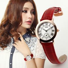 Business women's leather wrist watch noble retro waterproof women's watch Red OneSize