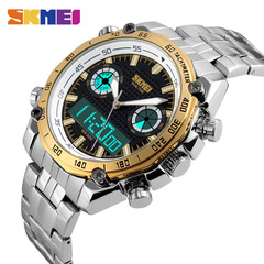 Cool men steel band watch double time display electronic watch high-grade watch outdoor sports watch Gold OneSize