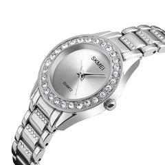 Classic ladies watch with diamonds elegant ladies bracelet watch quartz watch silver onesize