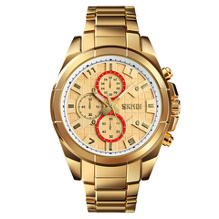 Business leisure steel watch with large dial watch gold onesize
