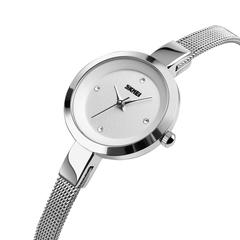 Fashion simple women's rose gold steel watchband alloy diamond watch silver onesize