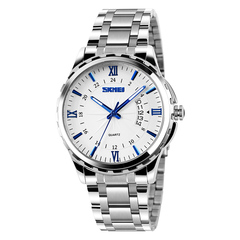 Simple luminous calendar men's watch waterproof steel band business men's watch quartz watch blue onesize