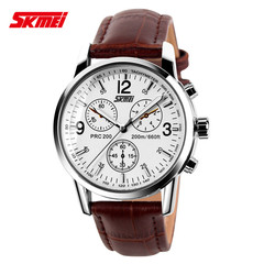 Stylish waterproof business watch with classic steel band quartz watch white & brown (leather) onesize