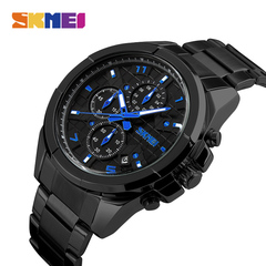 Men's multi-functional steel band six-pin sport watch 50M waterproof quartz watch black onesize