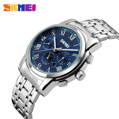 Men's Luxury Business Automatic Watch Stainless Steel Quartz Movement Noctilucent Waterproof Watch blue onesize