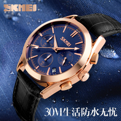 Stylish leather wrist watch with multi-function six-pin calendar quartz watch blue onesize