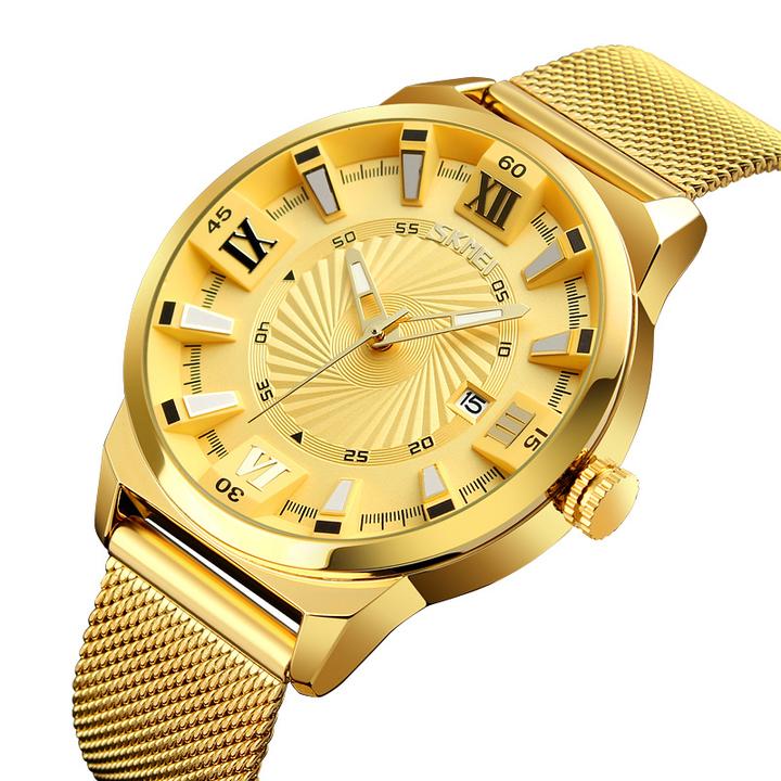 Business stereo men's quartz watch calendar waterproof watch gold onesize