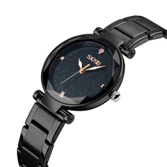 Women Waterproof Quartz Watches Fashion Elegant Synthetic Glass Stainless Steel Band Starry Sky Dial black onesize