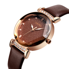 Ladies steel bandStarry Sky Dial quartz watch Rose gold & real leather onesize