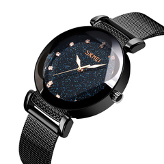 Ladies steel bandStarry Sky Dial quartz watch Black & stainless steel onesize