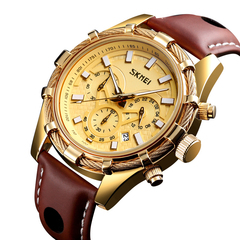 Men's business leisure multifunctional leather luminous quartz watch gold onesize