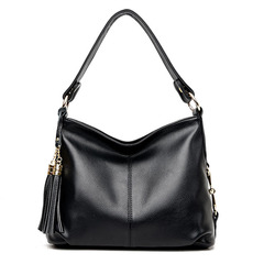 cowhide women shoulder crossbody bag female casual large totes BW-06 black one size