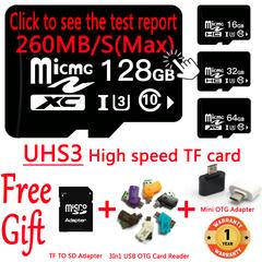 UHS3 Class10 260MB/S Memory Card 16G 32G 64G 128G SDHC USB Micro SD Card TF Card black high speed class 10 / u3 16gb tf