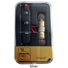 Wireless Bluetooth Earphone Sports Wireless Earphones Metal Magnetic Stereo Headset In Ear Earbud Silver ONESIZE