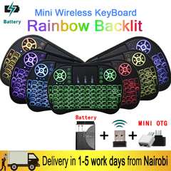 7 Color Backlit Mini Wireless Keyboard Mouse 2.4ghz USB Keyboard for Laptop Smart TV With Touchpad As Picture One Size