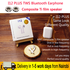I12 PLUS 3D Stereo Touch control TWS Bluetooth Wireless Earphone Earbuds Charging Case WHITE I12-PLUS