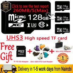 Black Friday UHS3 Class10 260MB/S Memory Card 16G 32G 64G 128G SDHC USB Micro SD Card TF Card black high speed class 10 / u3 64gb tf