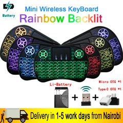 7 Color Backlit Mini Wireless Keyboard 2.4Ghz USB Keyboard for Laptop TV With Touchpad As Picture One Size
