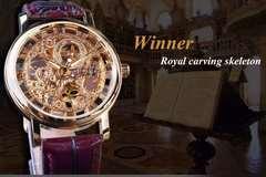 Winner Brand Men's Watch Mechanical Watch Fashion Casual Retro Wristwatch Roman Openwork High End b one size