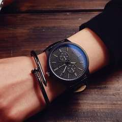 Hot Fashion Men and Women Big Watch Couple Lover Watch Casual Simple Wristwatch Retro Sport Watch black one size