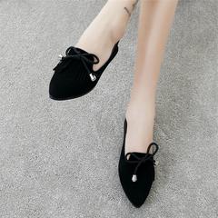 Women's flat shoes 2019 hot sale Tassels Cusp Bow Fashion Joker black 35