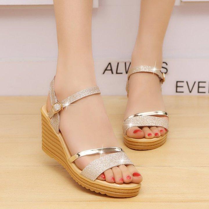 Shoes shoes women shoes ladies shoes heels shoes for women shoes lady Big size sandals golden 38