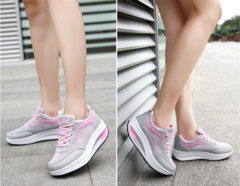 Shoes women Gym shoes soft sole Mesh surface Increase women`s shoes Fitness sneakers big code pink 35