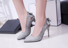 Shoes shoes women High-heeled shoes single-shoes fine-heel cusp Suede bow Hollowing out gray 34