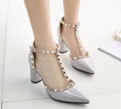 Shoes shoes women high-heel shoes Rivet Buckle Strap Thick Heel High Heels Women'S Shoes gray 34