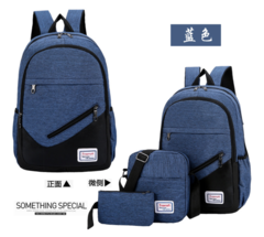 Bags Men`s Bags Backpacks Three-piece set for shoulder bags Computer Backpacks Leisure travel bags blue three