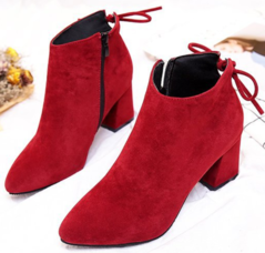 Shoes Women`s Shoes Women`s Short Boots High-heeled Martin boots Suede Coarse heel Large Size black 35
