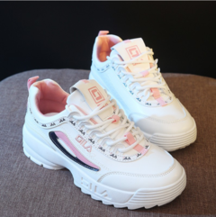 Shoes Women`s Shoes Gym Shoes 2019 New style Round head White Running Shoes Wild Joker pink white 35