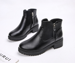 Shoes Women`s Shoes Short Boots Thick heel and thick bottom Ankle boots Martin Boots Large Size black 35