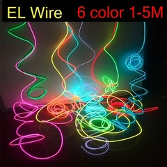 Neon Light LED Lamp Flexible EL Wire Rope Tube Waterproof LED Strip White+ Controller 1m 0.4w