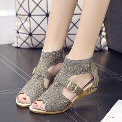2019 with Roman shoes female low heel rhinestone slip ladies sandals gold 37 gold 41