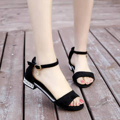 Open-toed flat-soled sandals for girls in spring and summer of 2019 gray 39