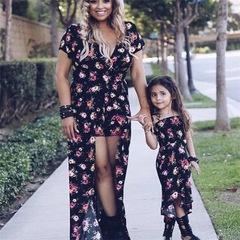 Summer explosive Vintage printing patchwork point long skirt dress parent-child dress m Mom's Dress