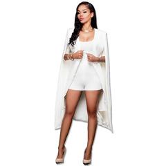 Autumn New Personality Pure Colour Long Cloak with Large Size Women's Suit Coat white xxl