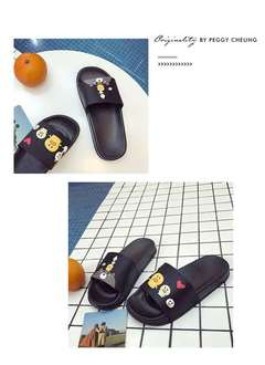 Rhodos Fashion-Home cute slippers women wear skid-proof cartoon slippers with thick soles in summer black 36