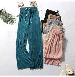 Rhodos Fashion-High waist loose Chiffon nine-minute trousers a xl: Proposed body weight65-77.5kg