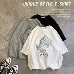 Rhodos Fashion-Cartoon hip-hop T-shirt gray s High quality